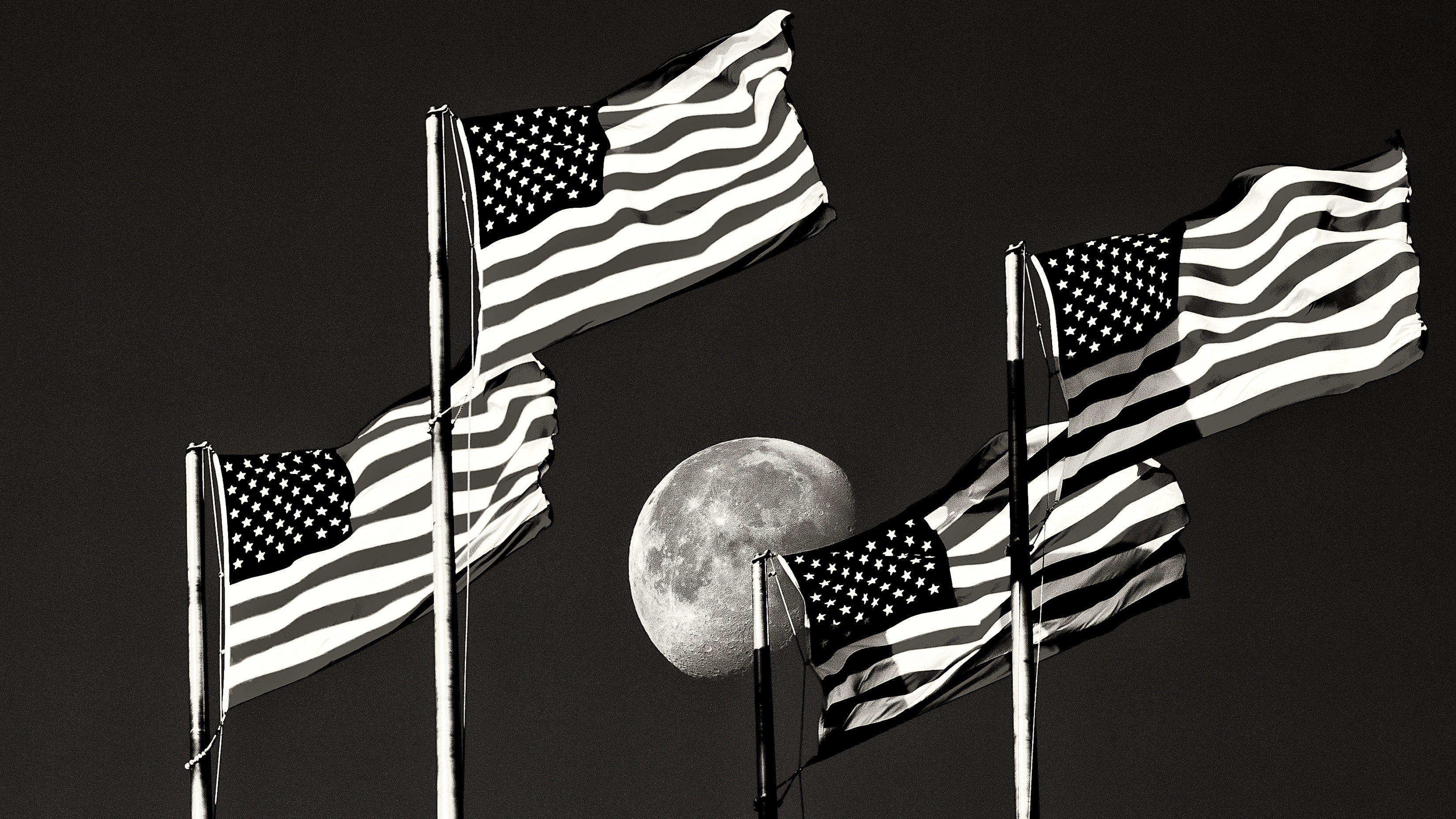 moonshot, space, flags