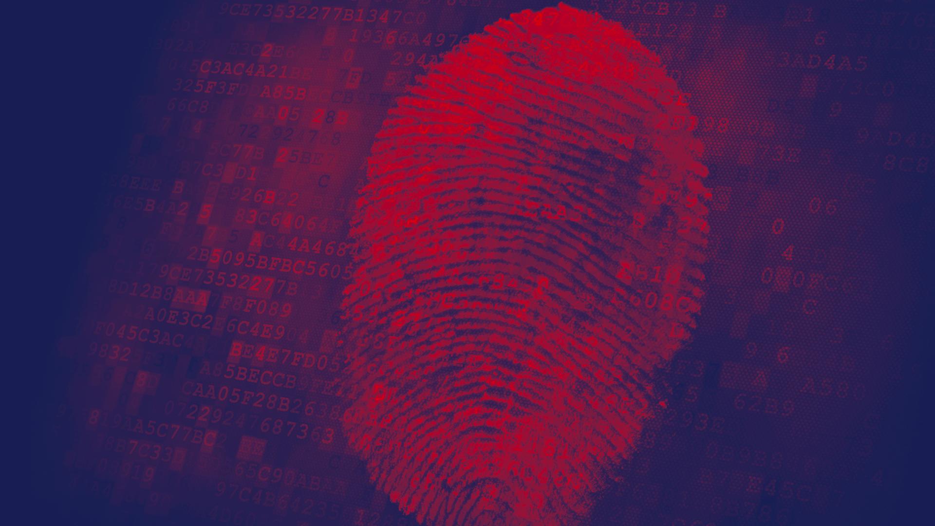 Illustration depicting fingerprint for cyber defense