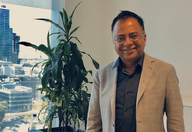 Sreeram Visvanathan, in his Dubai office, oversees IBM's government technology and AI business in more than 160 countries. (FedScoop)