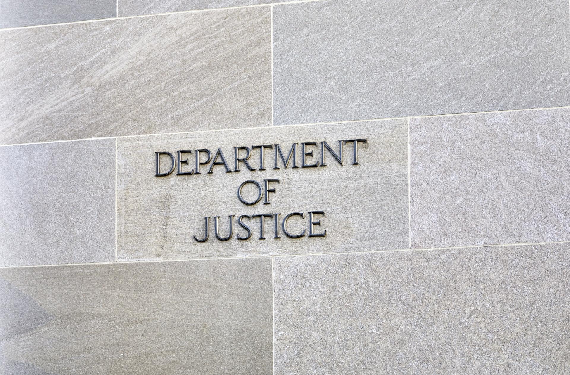 Department of Justice Building Sign DOJ